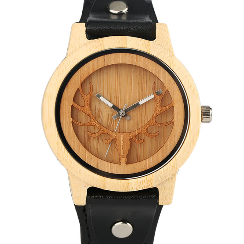 Fashion Mens Watches Top Brand Luxury Quartz Wood Bamboo Watch Deer Elk Head Black Genuine Leather Male Sports Analog Clock Gift