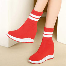 Tennis Shoes Casual Women Knitting Wedges High Heel Round Toe Platform Party Pumps Hi-Top Trainers Punk Creepers