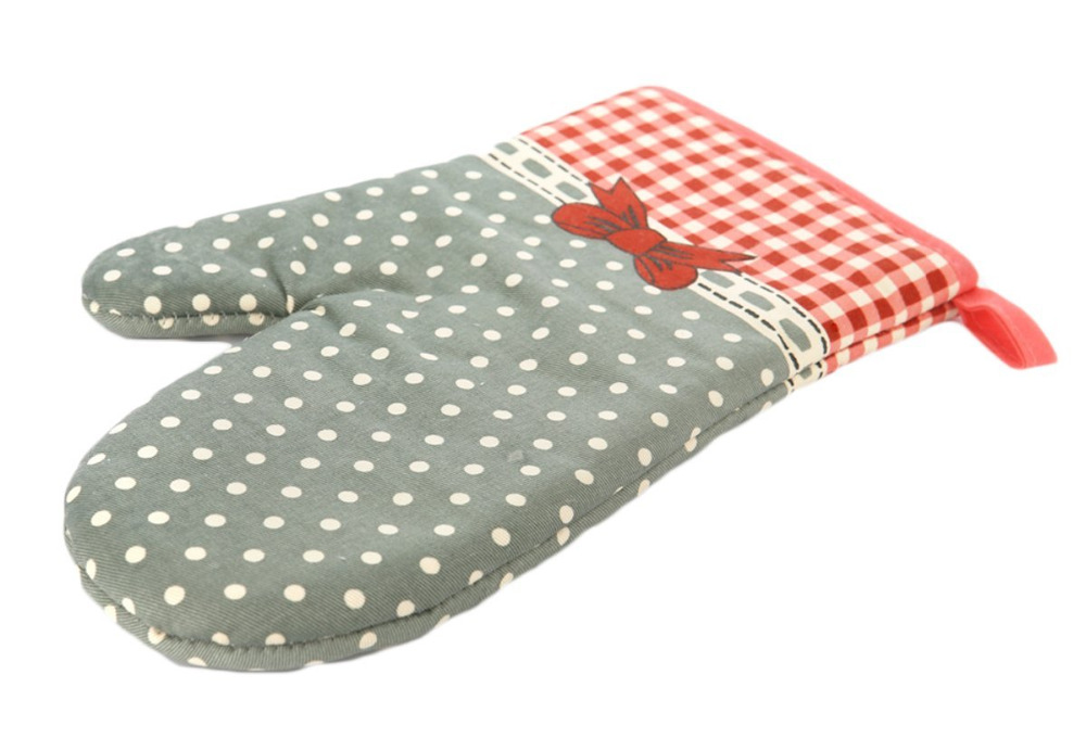Cute Bow Bowknot Polka Dot Grid Oven Mitt Cooking Mitts Pot Holder Potholder Heat Resistant In Sleeves From Home Garden On