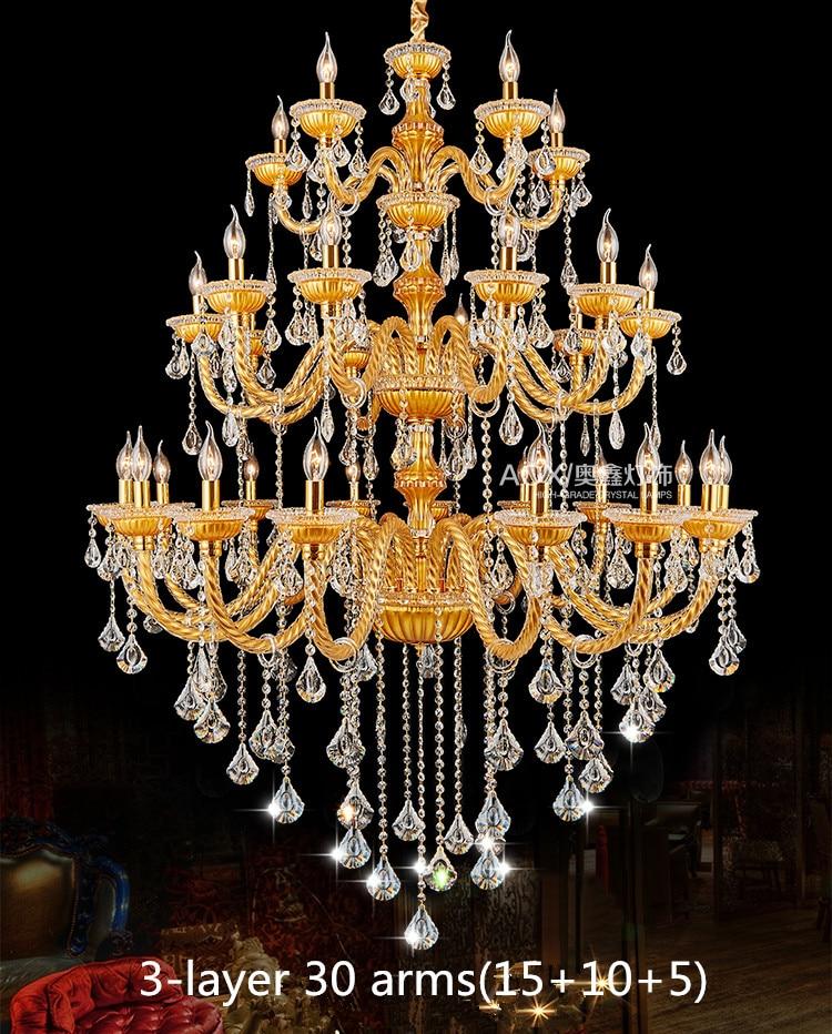 Bohemija velik velik zlati šampanjčni kristalni lestenec za - Notranja razsvetljava - Fotografija 3