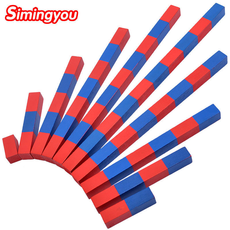 Simingyou Kids Toys Montessori Red Long Sticks Math Toy Wooden Toys Education Early Learning Child B40-A-136 Drop Shipping montessori education wooden toys four color game color matching early child kids education learning toys building blocks