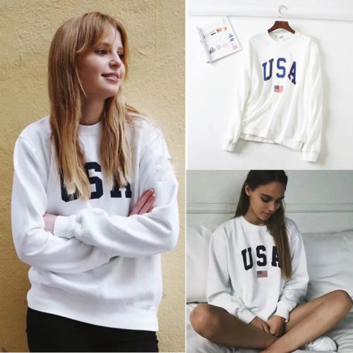 86eac9b98b1 Womens Hoodies USA Long Sleeve O Neck Hoodie Letter Printed Sweatshirt  Jumper Pullover Tops Autumn Winter Femme Loose White Coat