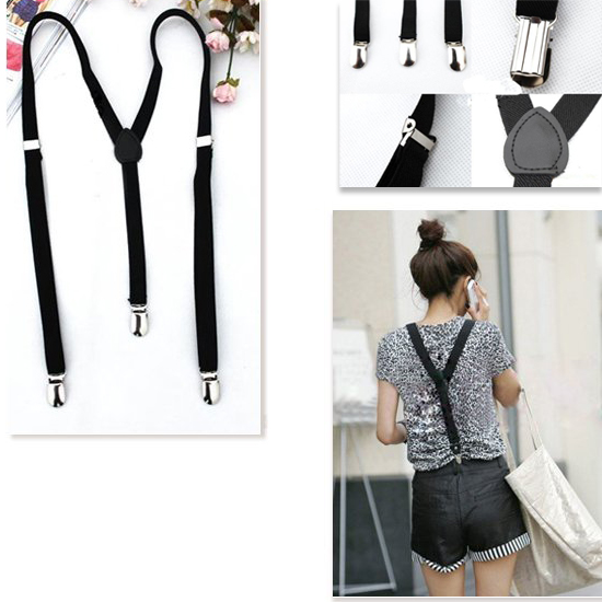 Adjustable Plain Black Braces Suspenders Heavy Duty Unisex Mens Ladies 1.5cm
