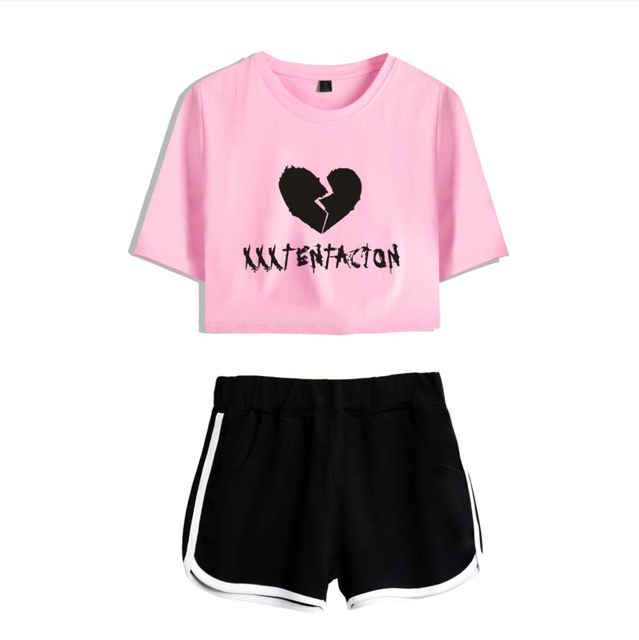 Drop Ship Xxxtentacion 2 Piece Set Women Tracksuit Casual Two Piece Set Top and Pants Summer Outfits for Women New Women Sets