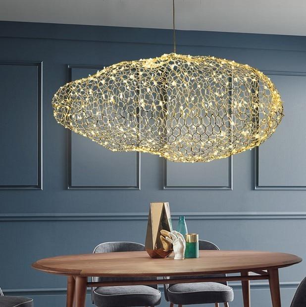 Starry Hanging Creative Cloud Light Fixtures Led Pendant Lamp Firework  Hotel Restaurant Bar Designer Firefly Moderne