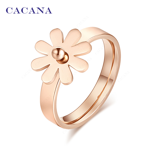 CACANA Titanium Stainless Steel Rings For Women Golden Flower Fashion Jewelry Wh