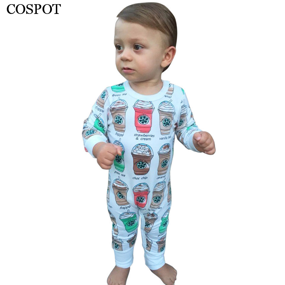 COSPOT Baby Girls Boys Romper Newborn Cotton Coffee Cup Print Jumpsuit Toddler Autumn Rompers Infant Jumper 2017 New Arrival 38C warm thicken baby rompers long sleeve organic cotton autumn
