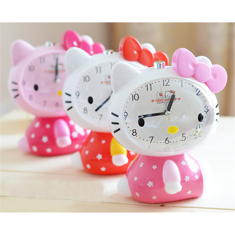 Children Alarm Clock Hello Kitty Cartoon Children Mute Alarm Clock With Night Light Multiple Ring Tones Bedside Alarm Gift image