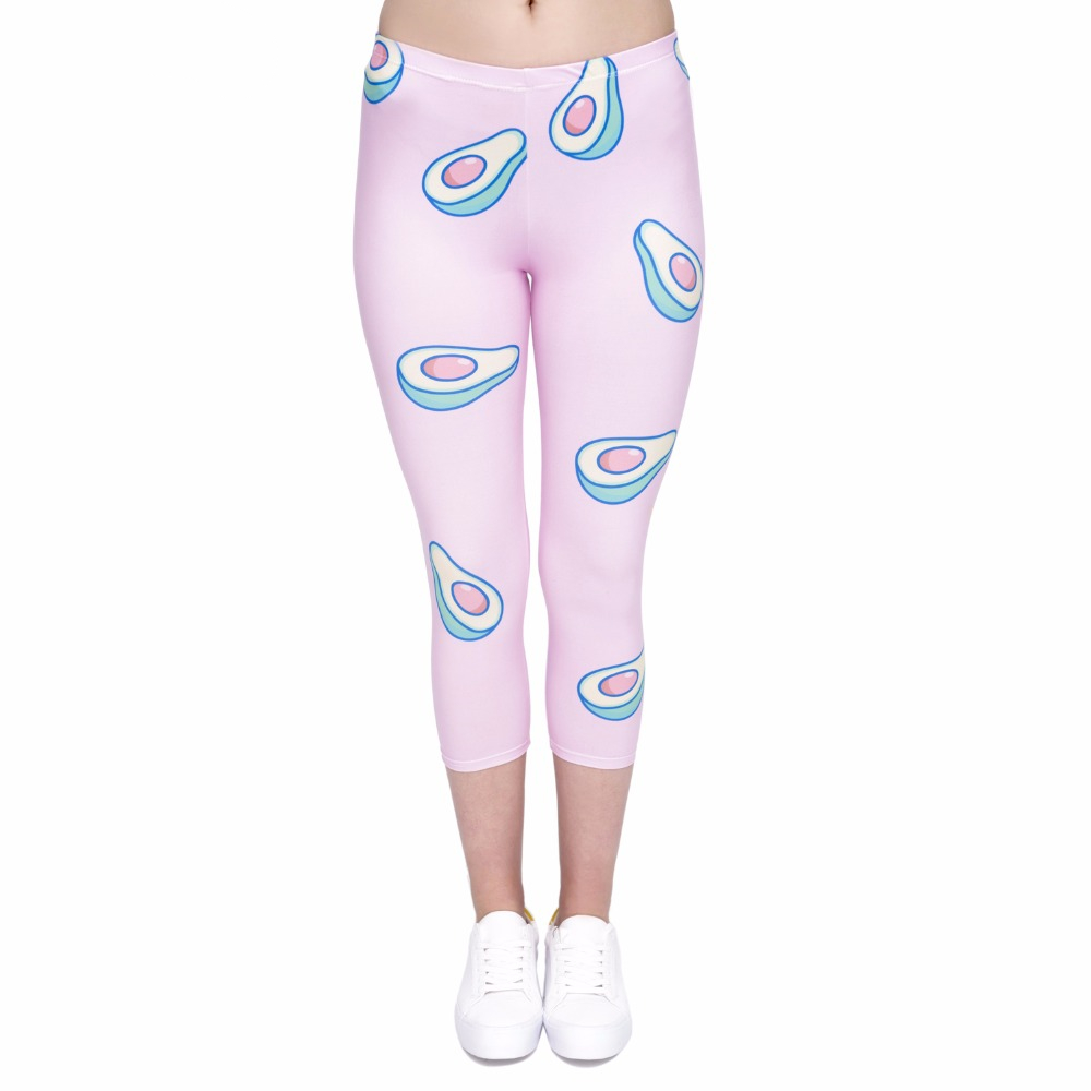 Women capri Leggings Avocado-Pink Printing Sexy Mid-Calf 3/4 Fitness Trousers Movement Leggins capri Pants