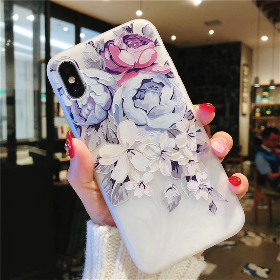 MOUSEMI Luxury 3D Silicone Case For iPhone 6 7 6S 8 Plus 5S SE X XS MAX XR Shockproof Flower Phone Case For iPhone 6 7 Case Girl (3)