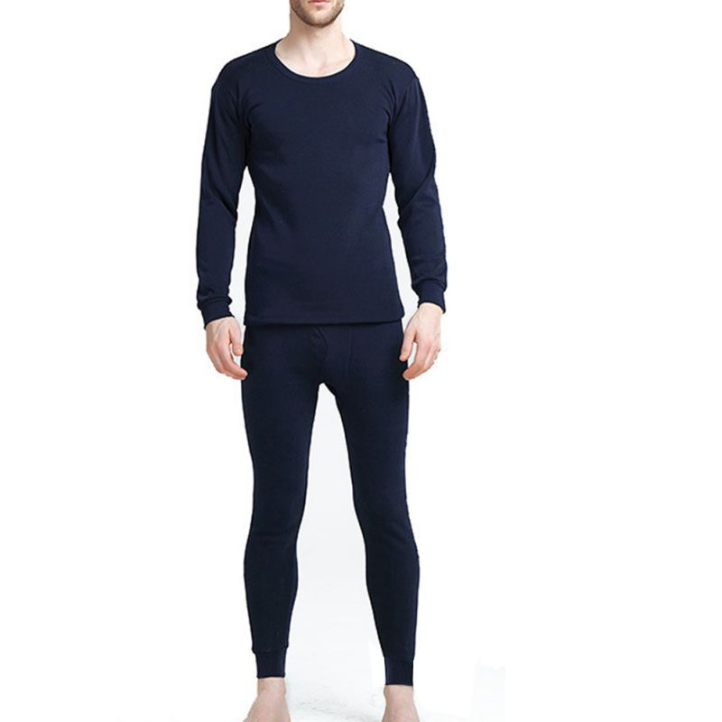 Mens Thermal Underwear Plus Velvet Thick Solid Long Johns Suit Casual Winter Clothes Mens Warm Pants Winter Sets