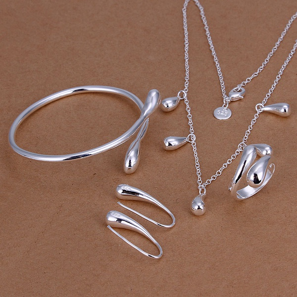 Silver plated refined luxury noble gorgeous elegant water drops four piece sets hot selling classic silver jewelry S219