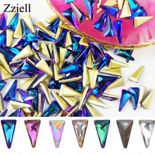 Zziell 10pcs 3D Triangle Holo Nail Art Decorations Sets Glitter Shiny Nail Stone DIY Manicure Crystal Nail Rhinestone Accessory