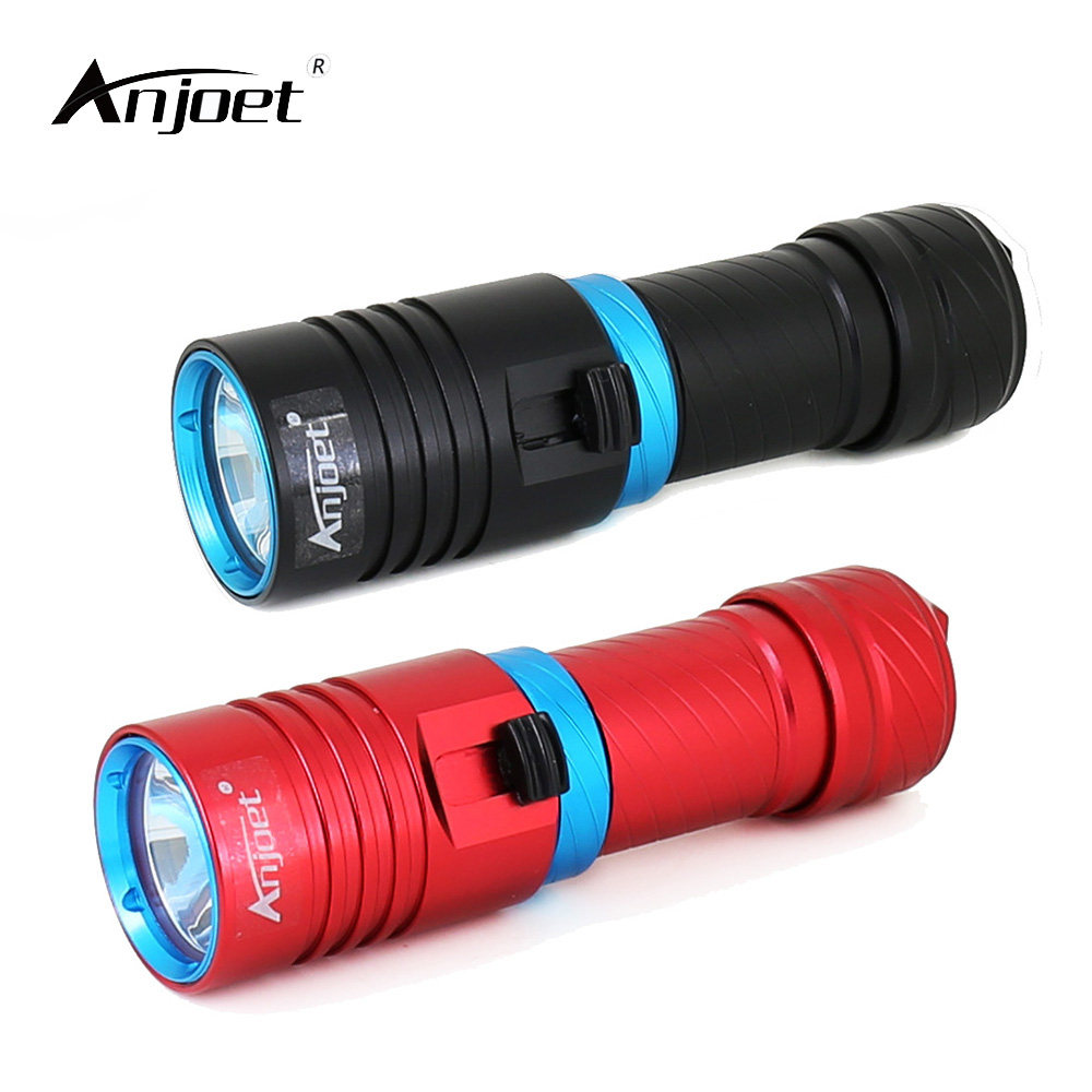 ANJOET Diving Flashlights XM-L2 LED 100 meter Waterproof Portable Dive Torch Light Scuba for 18650 or 26650 Batteries