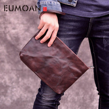EUMOAN The first layer of handmade large-capacity clutch bag envelope bag men's leather casual youth business new retro leather все цены