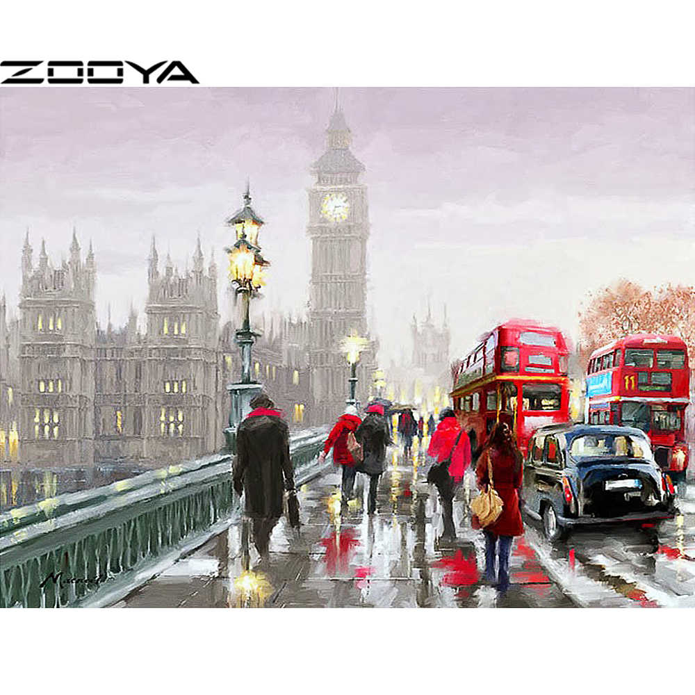 ZOOYA Sale Diamond Embroidery DIY Diamond Painting Mosaic Pictures Rhinestone Painting City Beautiful Figures Landscape R635