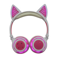 Bluetooth Cat Ear Headphones Wireless Earphones Led Light Flashing Glowing Headset With Mic For Smart Phones PC For Girls Kids