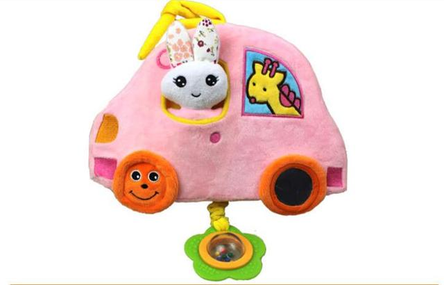 soft Multifunctional  baby bed hanging rattle pull bell toy house / car mobile Rabbit  pullerstring