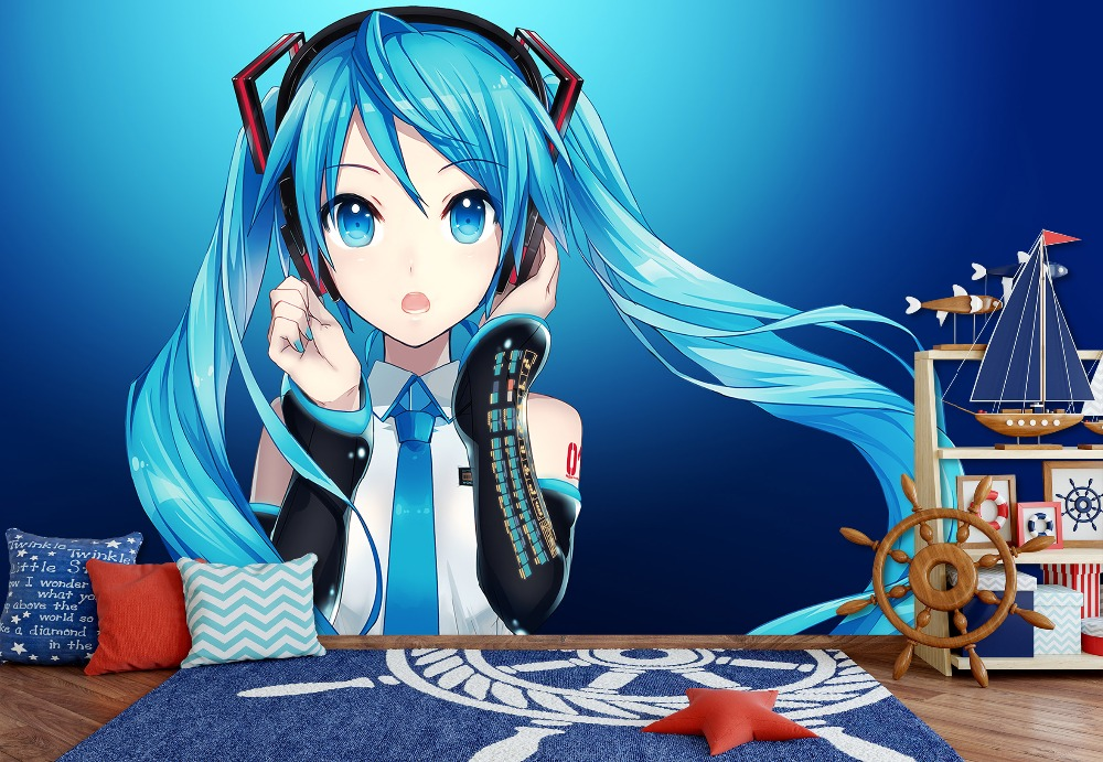 [Self-Adhesive] 3D Hatsune Miku Innocent Cute 4 Japan Anime Wall Paper Mural Wall Print Decal Wall Murals