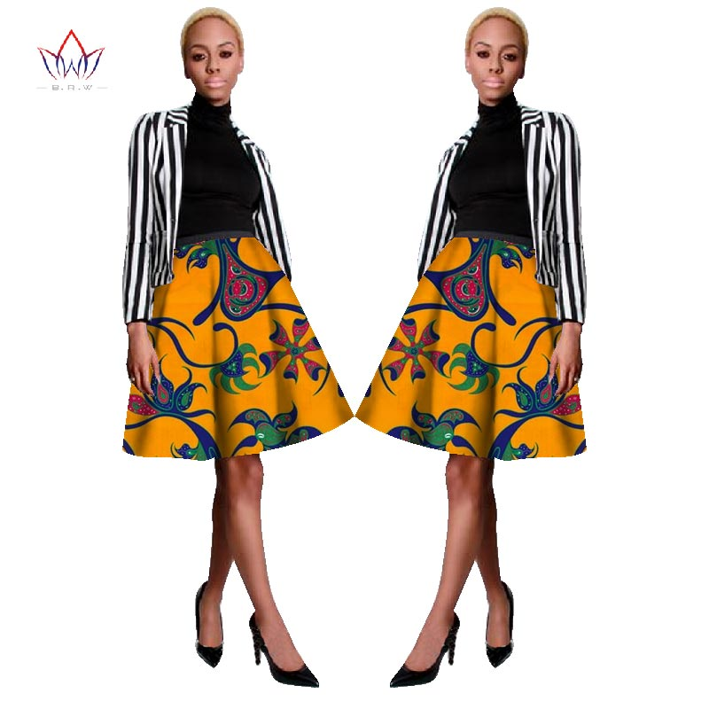 Bazin Riche African Fabric Wax Print Dashiki Skirt Plus Size 6xl African Clothes for Women Casual Cotton A-line Skirts