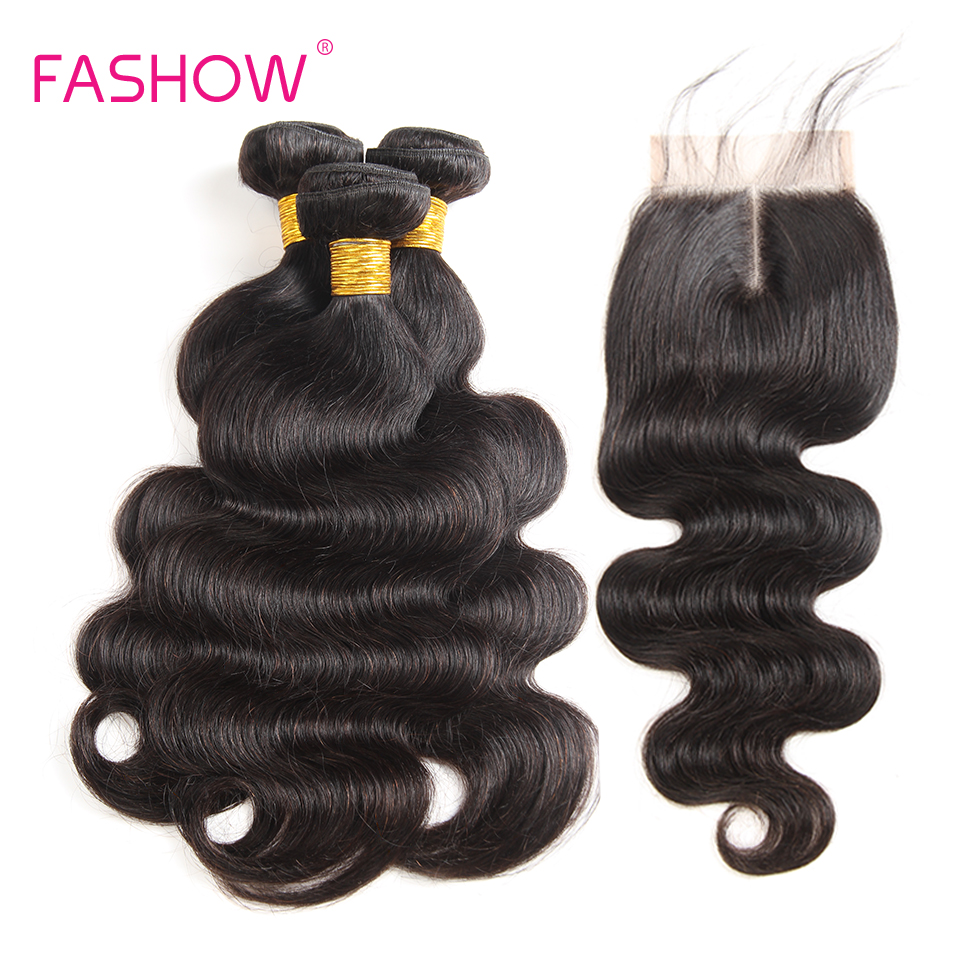 Fashow Indian Hair Body Wave Hair Bundles With Closure 3 Bundles With Lace Closure 100% Human Hair Weave Extensions 8- 28 inches