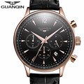GUANQIN Mens Watches Top Brand Luxury Men Military Sport Luminous Wristwatch Chronograph Leather Quartz Watch Relogio Masculino