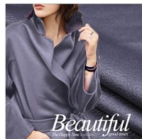 Export luxury double sided silk water ripple cashmere fabric winter coat Australian wool fabric blue gray cashmere fabric cloth