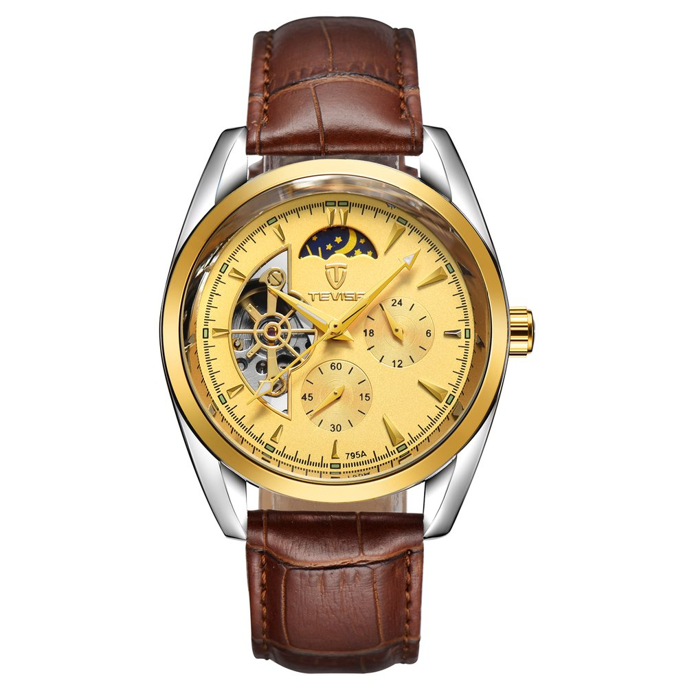 TEVISE Men Watch Tourbillon Automatic Leather Strap Watches Luxury Moon Phase Mechanical Waterproof Watch Hollow Out Dial holuns original luxury automatic mechanical watch golden big dial sapphire mirror hollow watch men casual retro leather watches