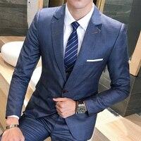 (Пиджак + брюки + жилет) 2018 Для мужчин Бизнес костюмы Костюмы Пиджаки Slim fit Для мужчин Классические роскошные Для мужчин две кнопки костюм ком