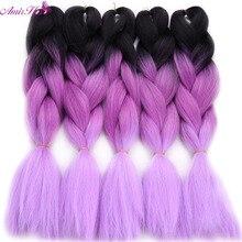 Амир волос Синтетический 6 упаковок вязанная косами 2/3 тонн вязаный косами с 24 inch Ombre гигантские косы плетения волос