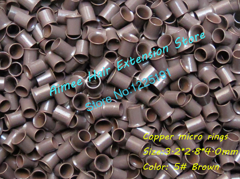 Pacote de Cobre Talão para i Ponta da Extensão do Cabelo Marrom Unidades – Queimado Anel Facilmente Bloqueia Tubo Cobre Micro Link 3.2*2.8*4.0mm 5 1000