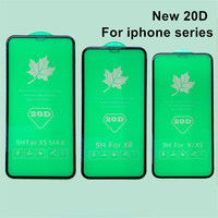 100pcs /lot 20D Tempered Glass Screen Protector iphone 6s 7 8plus For iPhone X XR XSMax Full Cover Protective film Glass