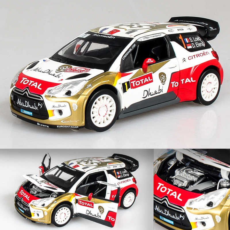 Alloy Diecast Car Model 1:26 Scale Citroen DS3 WRC Model Vehicle Collectible Toy Pull Back Car with Sound & Light