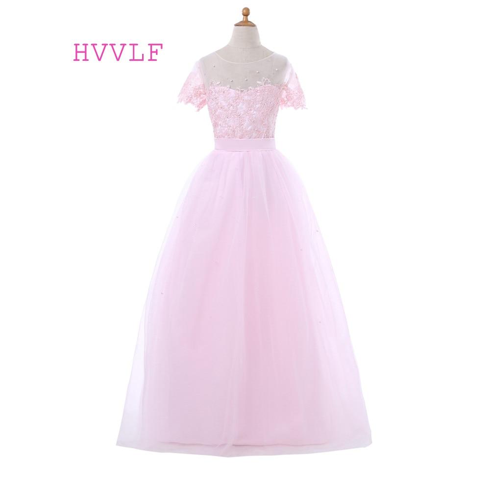 Pink 2018 Flower Girl Dresses For Weddings Ball Gown Cap Sleeves