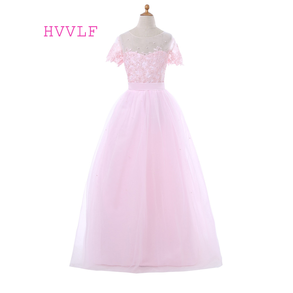 Pink 2019   Flower     Girl     Dresses   For Weddings Ball Gown Cap Sleeves Tulle Lace Pearls First Communion   Dresses   For Little   Girls