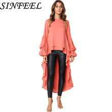 SINFEEL S-3XL Maxi Irregular Dress Women Fall Autumn Sexy Elegant Vintage Chiffon Black Loose Long Ruffles Dresses  Plus Size