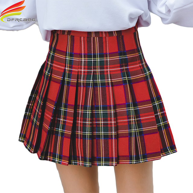 Mini Skirt 2018 Autumn Clothes New Arrivals Red And Blue Plaid A