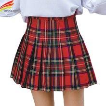 Mini falda 2018 otoño ropa recién llegados rojo y azul A cuadros una línea Falda plisada mujeres moda coreana faldas de cintura alta mujeres