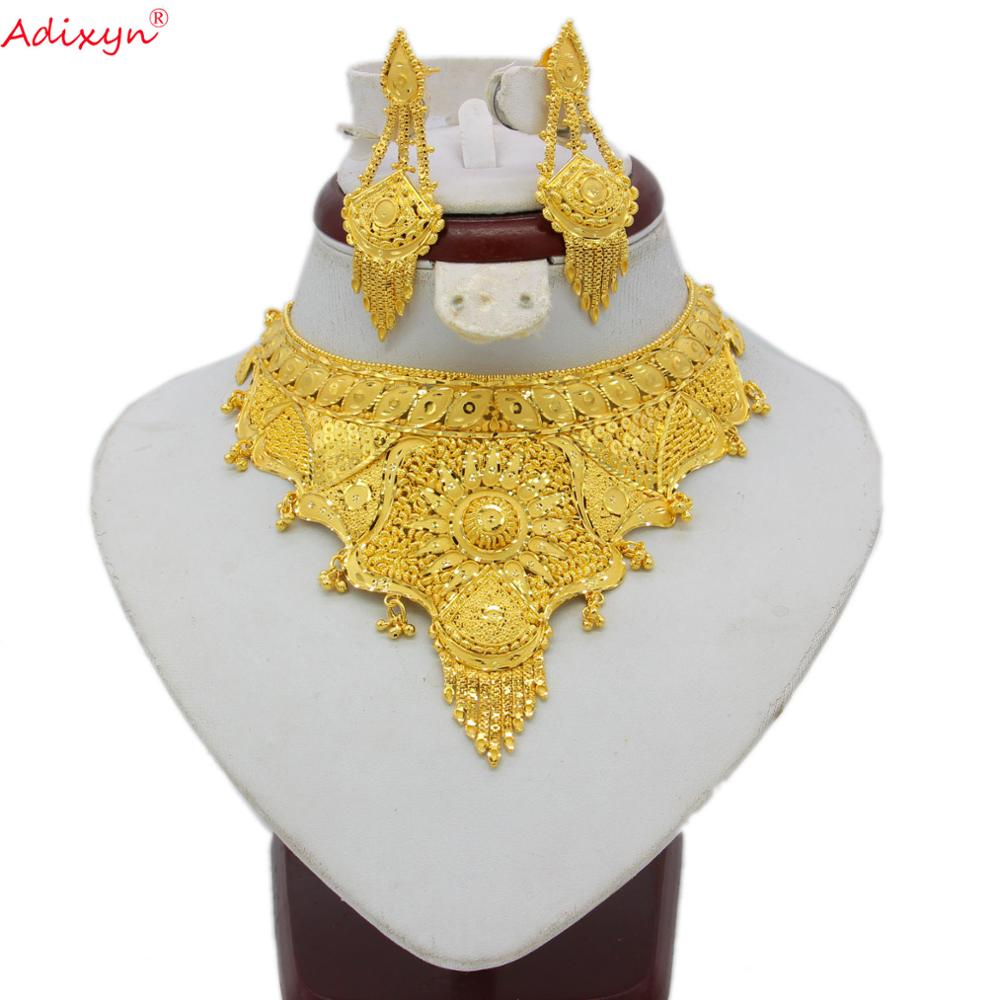 African High Quality Dubai Necklace Earrings Jewelry Set For Women Gold Color Elegant Arab Wedding/Party Mom Gifts N06086(China)