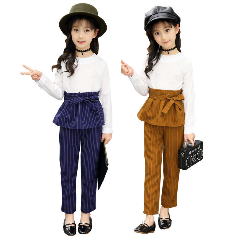 Girls' Clothing Sets Summer Autumn Coat+pants Two Piece Suit for Girls Solid White Stripe Bow Clothes Teenager School Outfits white ruched bodycon sexy two piece outfits