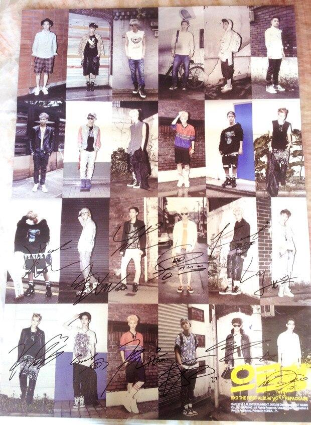 EXO EXO-K + M autographié authentique 1st album repackage grognement affiche officielle version coréenne livraison gratuite 03.2016