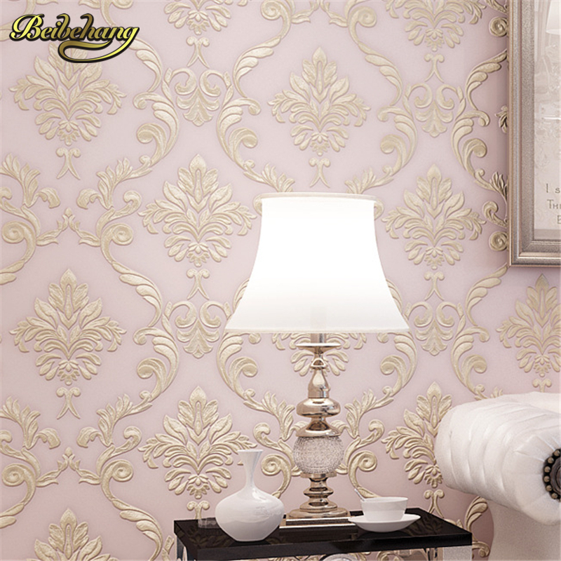 beibehang Wholesale and retail luxury European - style Damascus 3D stereoscopic precision non - woven wallpaper living roombeibehang Wholesale and retail luxury European - style Damascus 3D stereoscopic precision non - woven wallpaper living room