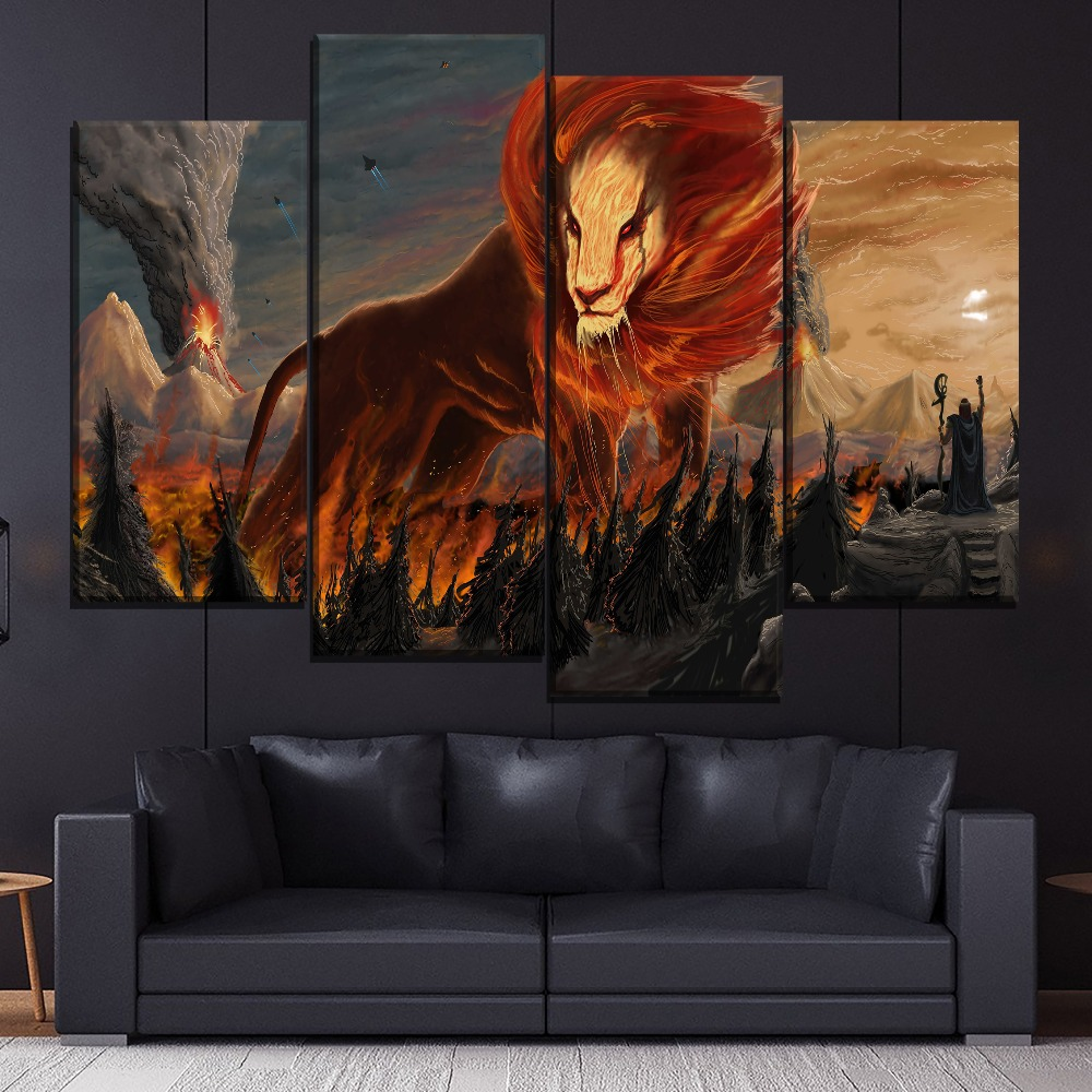 Lion Flames Scifi Abstract Explosion Painting One Set 4 Piece Style Modern On Canvas Print Type Home Decor Wall Artwork Poster