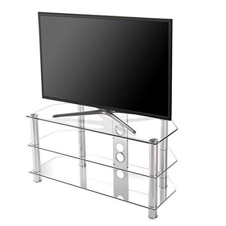 Fitueyes curved silver corner tv stand for up to 46inch Chrome legs with clear glass with media console TS310501GT