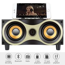 Retro Desktop Portable Wooden Wireless Speaker Subwoofer Stero Bluetooth Speakers Support TF MP3 Player with FM Radio Holder