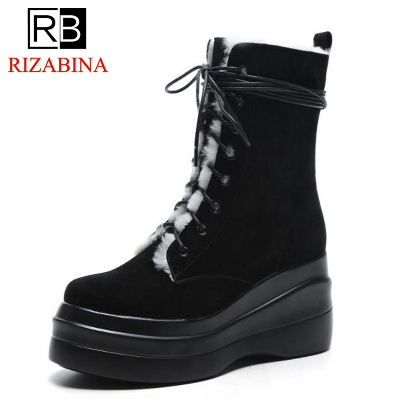 RizaBina Winter Snow Shoes Women Real Leather Warm Fur Mid Calf Snow Boots Women Cross Tied Thick Platfrom Botas Size 34-39 coolcept size 34 43 women half short thick bottom boots cross strap warm shoes cold winter boots mid calf botas women footwear