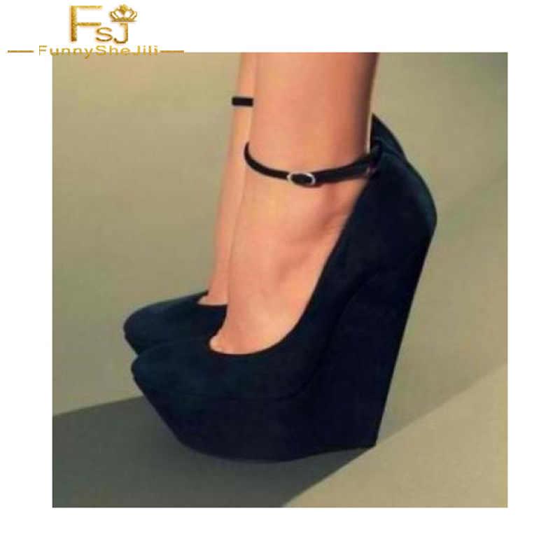 Women Shoes Ladies Pumps 2018 Spring Autumn Black Closed Toe Wedges Ankle  Strap Suede Platform Big 48d7781aea2a