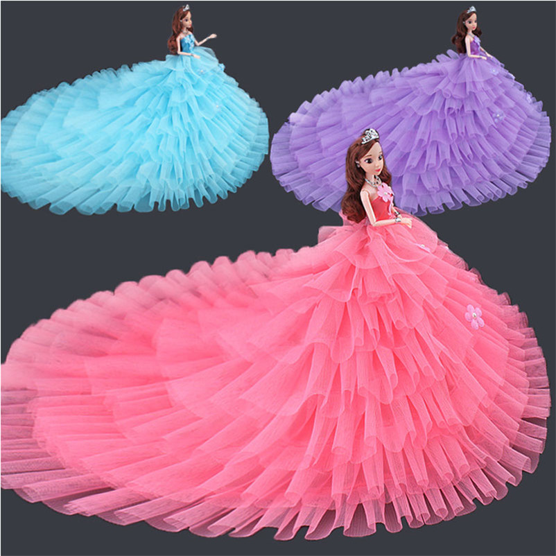 Abbyfrank Princess Doll With Large Tailing Wedding Dress Dress Beautiful Princess Clothing Accessories For Doll DIY Toys заколки beautiful princess 173