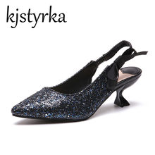 Kjstyrka Pointed Toe Bling Women Pumps High heeled silver Blue shoes  Glitter Shoes Woman Sexy Party b4bbfd169999