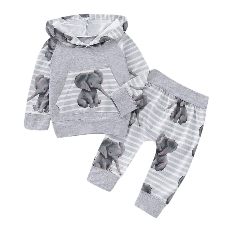 <font><b>Autumn</b></font> <font><b>Newborn</b></font> <font><b>Baby</b></font> <font><b>Girls</b></font> Boy Hooded Elephant Tops Pants Tracksuit Trousers Strip Outfits Infant <font><b>Clothes</b></font> Sets Winter Suit image